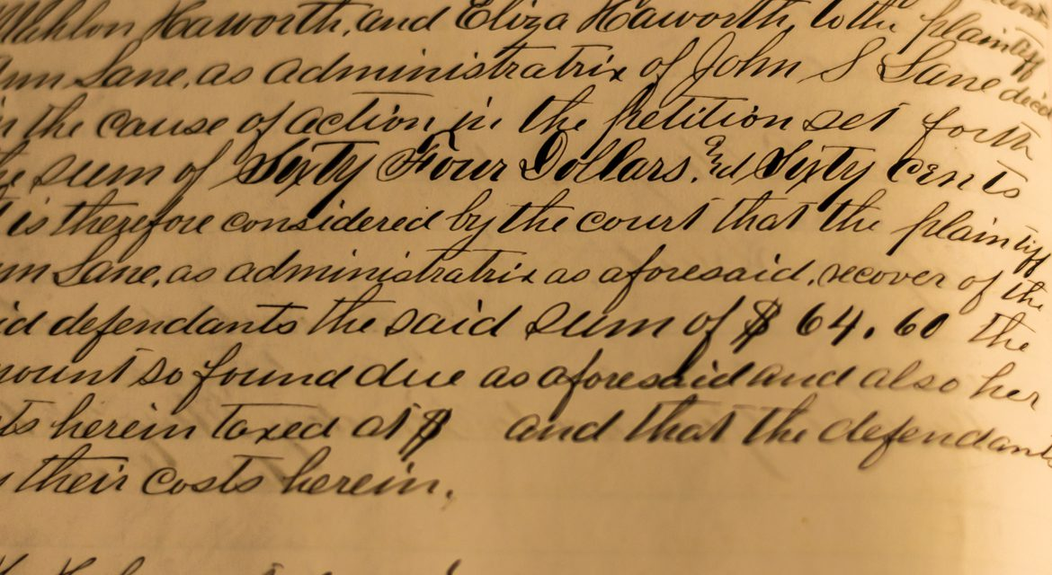 Historic text from a civil case in the 1800s